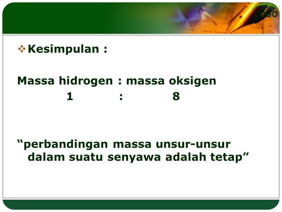 LOGO Hukum Perbandingan Berganda ( Hkm daltom )  apabila dua unsur bereaksi membentuk dua atau lebih senyawa, maka perbandingan berat salah satu unsur yang bereaksi dengan berat tertentu dari unsur yang lain pada kedua senyawa selalu merupakan perbandingan bilangan bulat sederhana