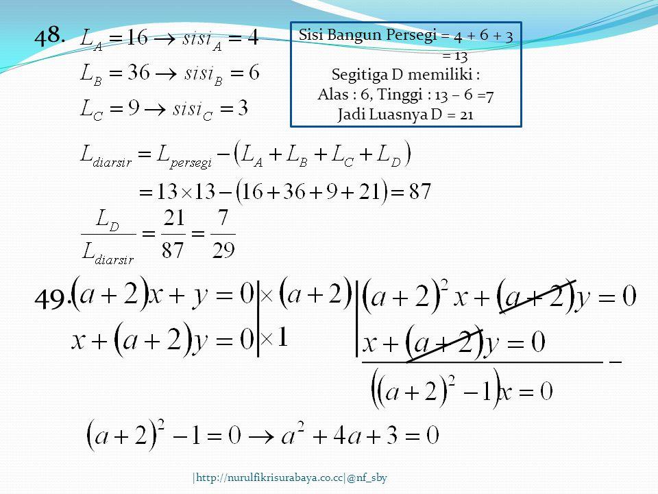48. Sisi Bangun Persegi = 4 + 6 + 3 = 13 Segitiga D memiliki : Alas : 6, Tinggi : 13 – 6 =7 Jadi Luasnya D = 21 49. |http://nurulfikrisurabaya.co.cc|@