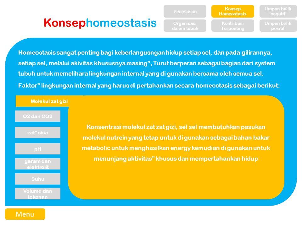 Konsephomeostasis Homeostasis sangat penting bagi keberlangusngan hidup setiap sel, dan pada gilirannya, setiap sel, melalui akivitas khususnya masing , Turut berperan sebagai bagian dari system tubuh untuk memelihara lingkungan internal yang di gunakan bersama oleh semua sel.