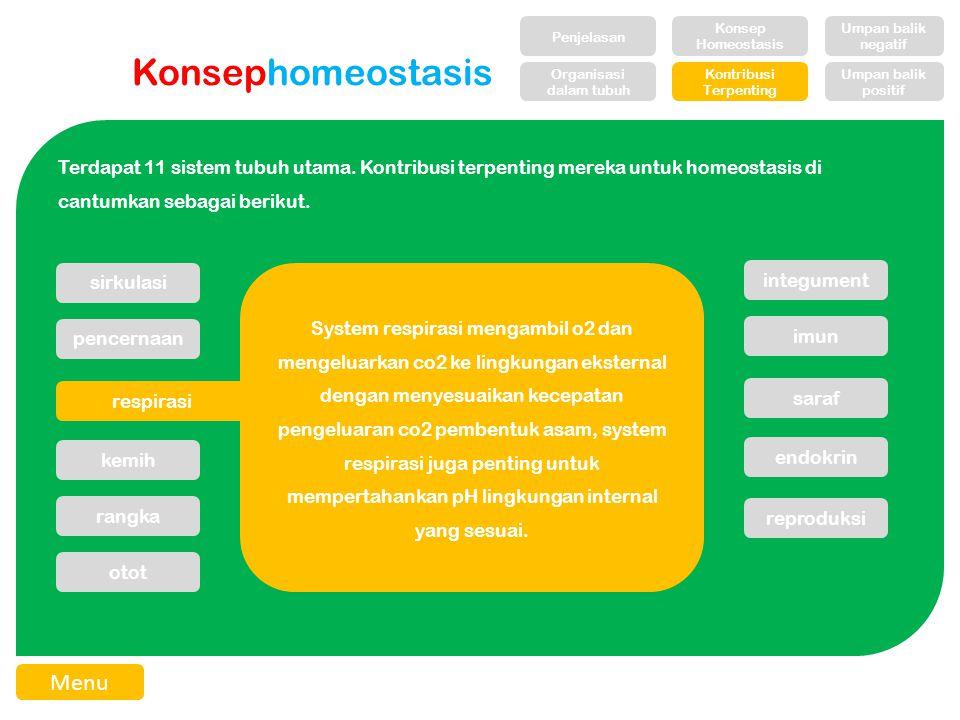 Konsephomeostasis Terdapat 11 sistem tubuh utama.