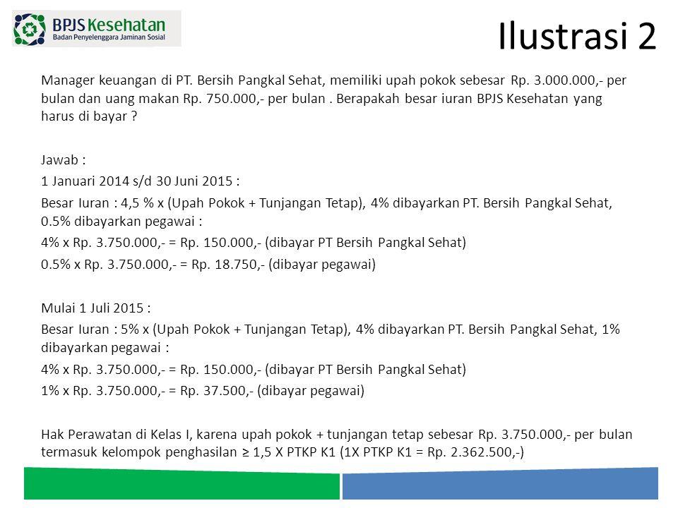 Ilustrasi 2 Manager keuangan di PT. Bersih Pangkal Sehat, memiliki upah pokok sebesar Rp. 3.000.000,- per bulan dan uang makan Rp. 750.000,- per bulan