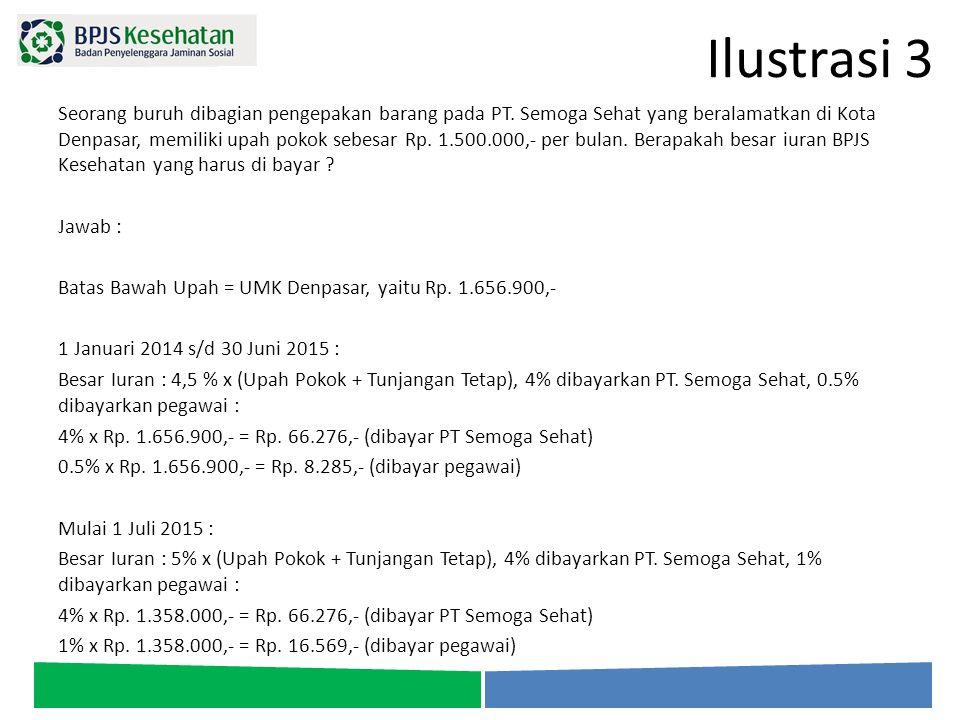 Ilustrasi 3 Seorang buruh dibagian pengepakan barang pada PT. Semoga Sehat yang beralamatkan di Kota Denpasar, memiliki upah pokok sebesar Rp. 1.500.0
