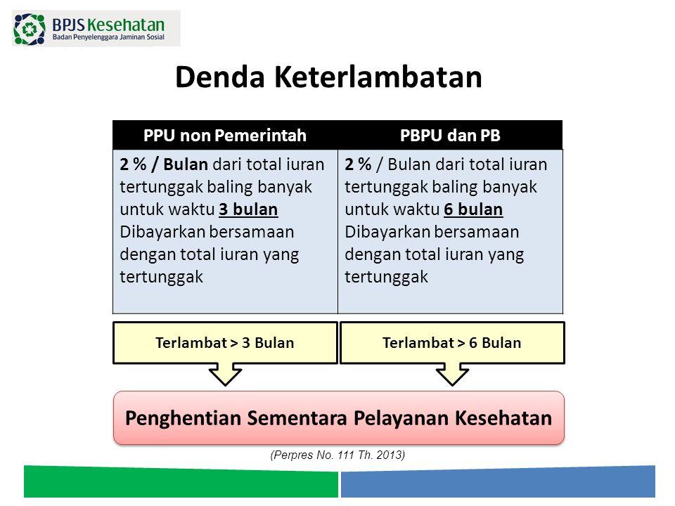 Denda Keterlambatan PPU non PemerintahPBPU dan PB 2 % / Bulan dari total iuran tertunggak baling banyak untuk waktu 3 bulan Dibayarkan bersamaan denga