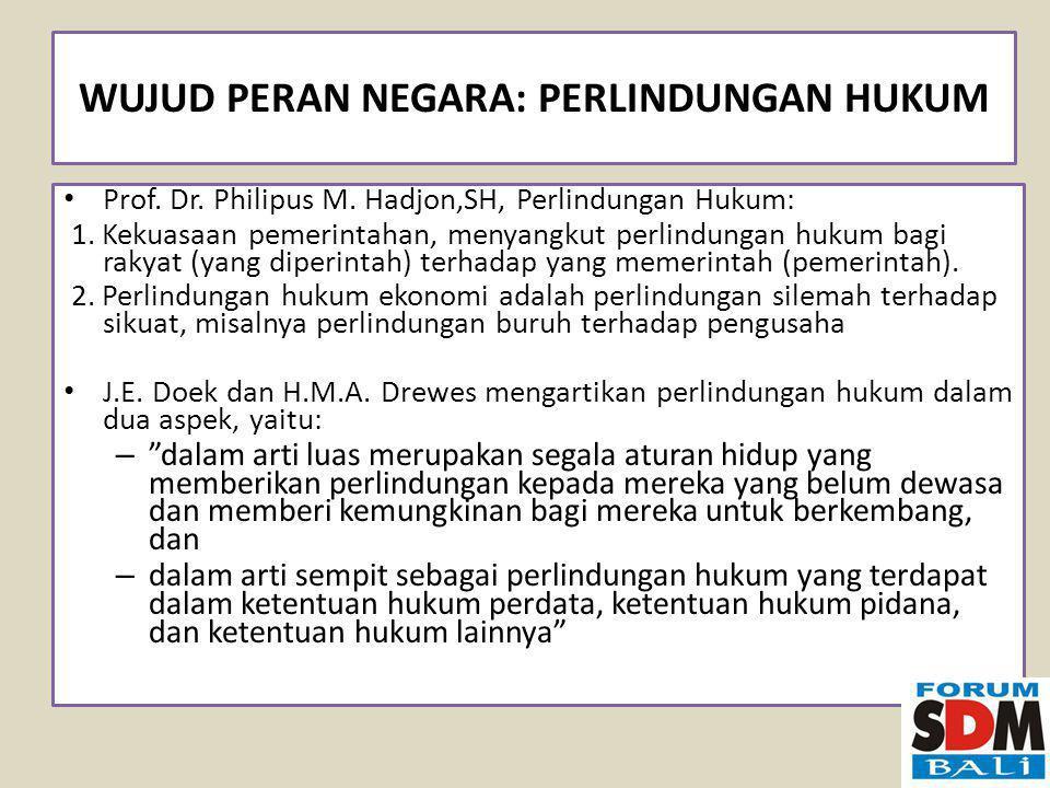 WUJUD PERAN NEGARA: PERLINDUNGAN HUKUM Prof.Dr. Philipus M.