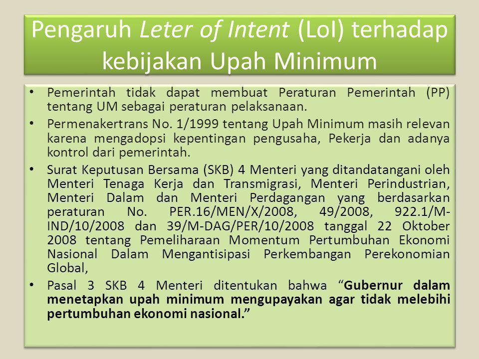 Pengaruh Leter of Intent (LoI) terhadap kebijakan Upah Minimum Pemerintah tidak dapat membuat Peraturan Pemerintah (PP) tentang UM sebagai peraturan pelaksanaan.