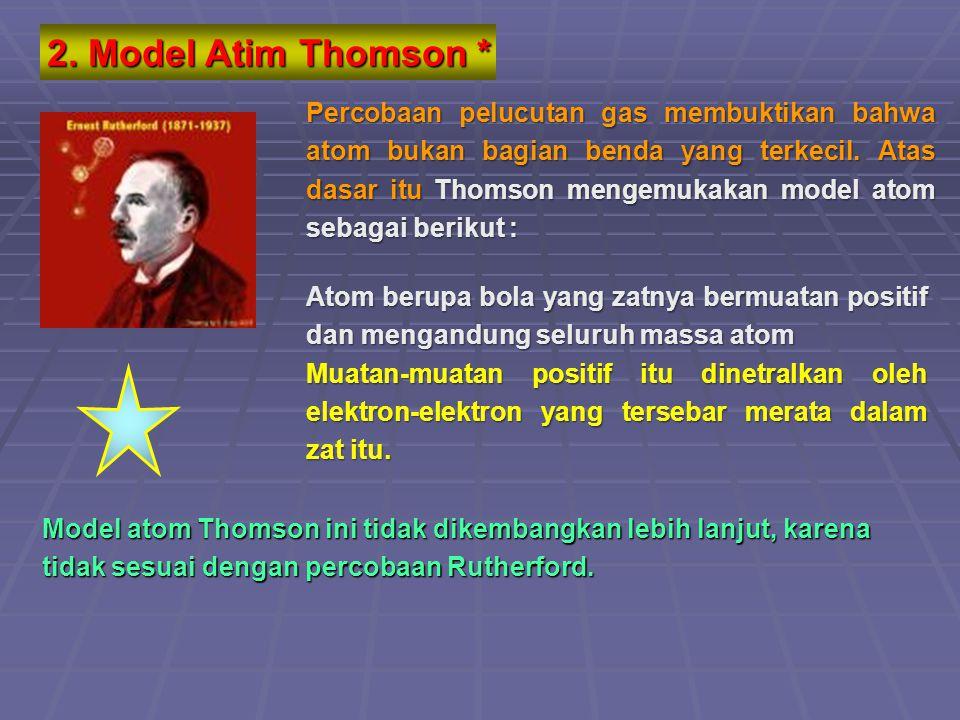 Dari percobaan Thomson diperoleh perbandingan atara muatan dan massa elektron Dari percobaan tetes minyak Milikan diperoleh muatan elektron Dari kedua