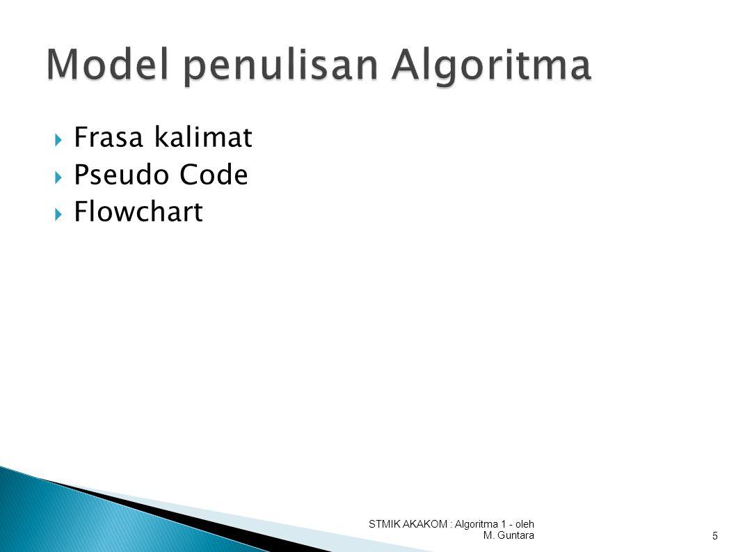  Frasa kalimat  Pseudo Code  Flowchart STMIK AKAKOM : Algoritma 1 - oleh M. Guntara5