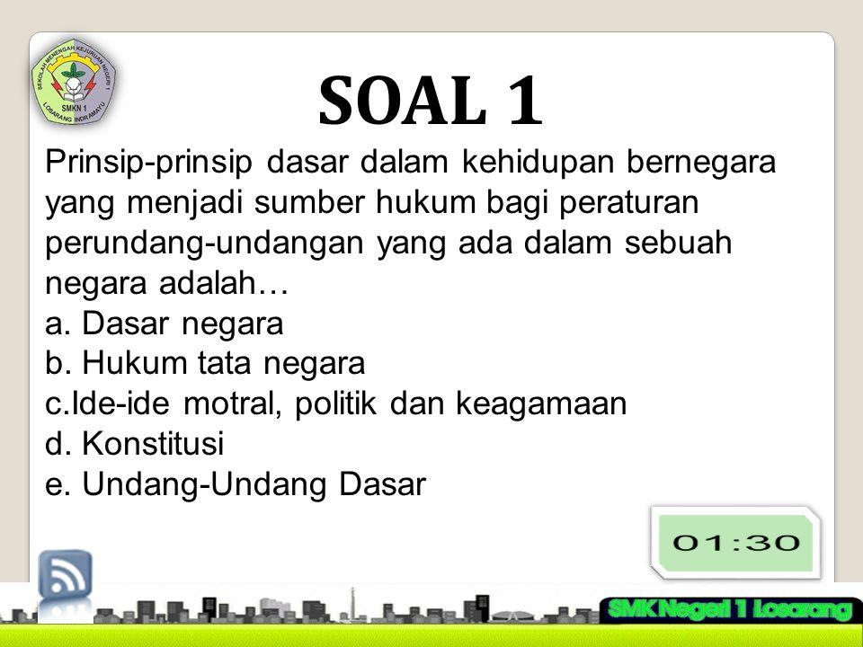 SOAL 2 Berikut ini adalah fungsi Pancasila sebagai dasar negara Republik Indonesia kecuali… a.Dasar dan sumber hukum nasional b.Dasar dan berdiri dan tegaknya negara c.Dasar kegiatan penyelenggaraan negara d.Dasar partisipasi waraga negara e.Dasar pembtasan hak-hak asasi warga negara