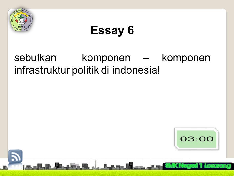 Essay 6 sebutkan komponen – komponen infrastruktur politik di indonesia!