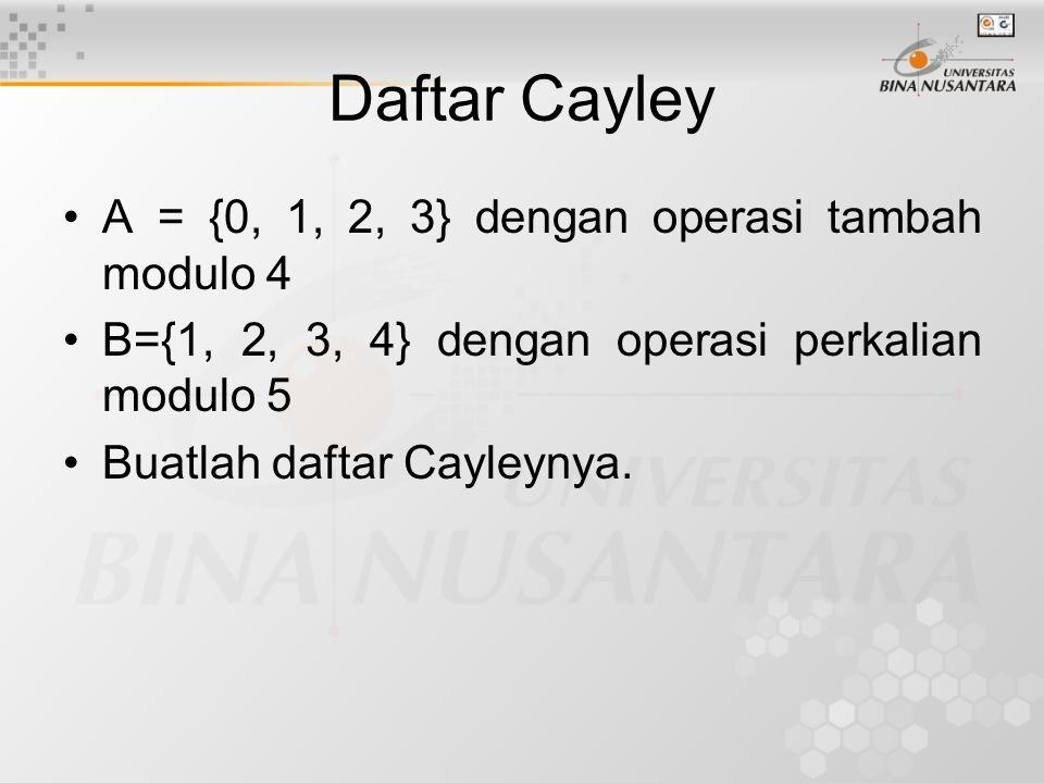 Daftar Cayley A = {0, 1, 2, 3} dengan operasi tambah modulo 4 B={1, 2, 3, 4} dengan operasi perkalian modulo 5 Buatlah daftar Cayleynya.