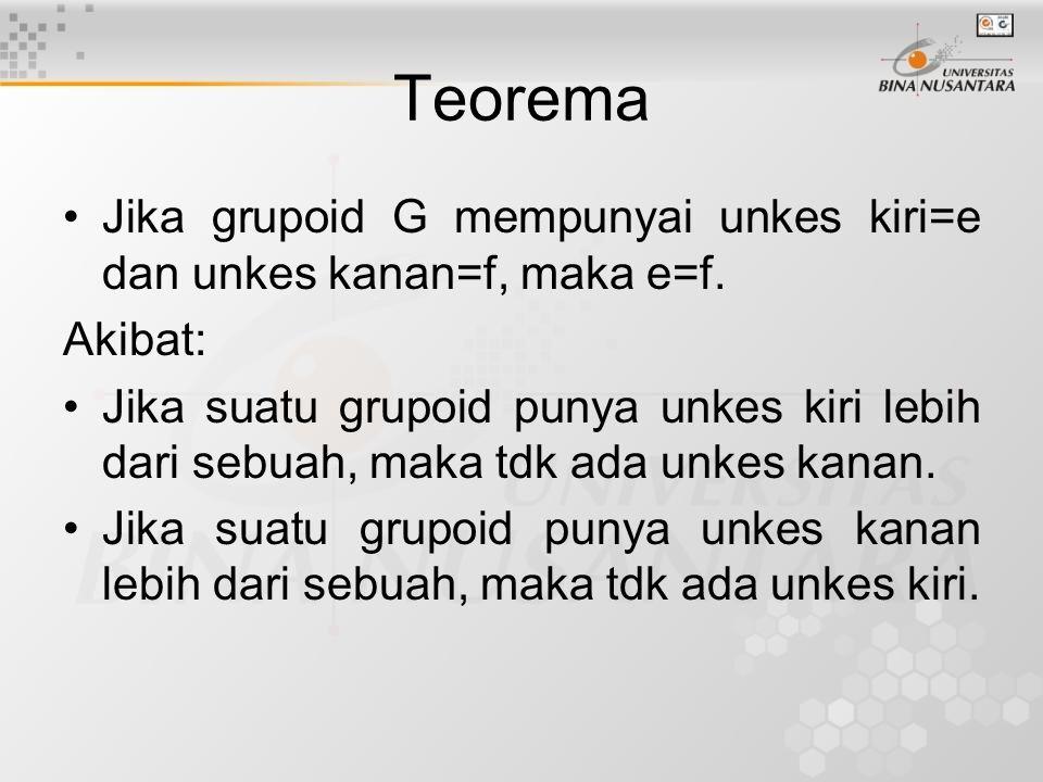 Teorema Jika grupoid G mempunyai unkes kiri=e dan unkes kanan=f, maka e=f.