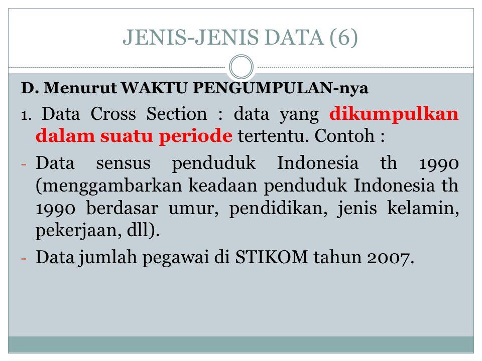 JENIS-JENIS DATA (6) D. Menurut WAKTU PENGUMPULAN-nya 1. Data Cross Section : data yang dikumpulkan dalam suatu periode tertentu. Contoh : - Data sens