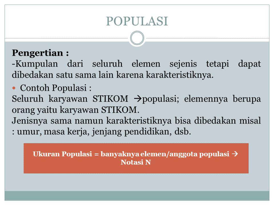 POPULASI Pengertian : -Kumpulan dari seluruh elemen sejenis tetapi dapat dibedakan satu sama lain karena karakteristiknya. Contoh Populasi : Seluruh k