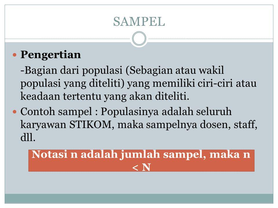 SAMPEL Pengertian -Bagian dari populasi (Sebagian atau wakil populasi yang diteliti) yang memiliki ciri-ciri atau keadaan tertentu yang akan diteliti.
