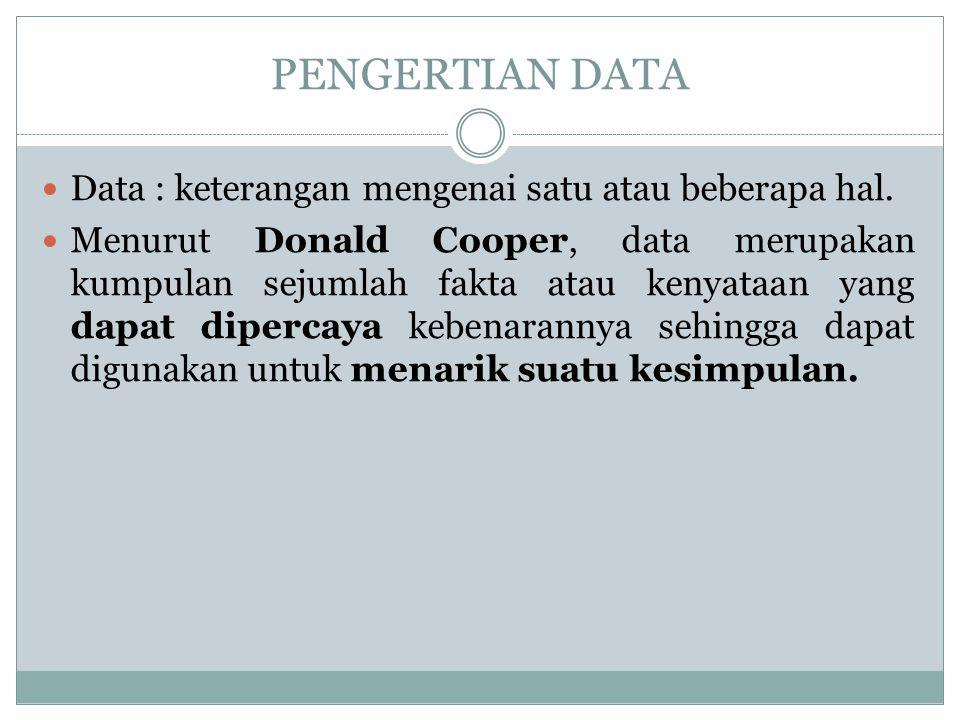 PENGERTIAN DATA Data : keterangan mengenai satu atau beberapa hal. Menurut Donald Cooper, data merupakan kumpulan sejumlah fakta atau kenyataan yang d