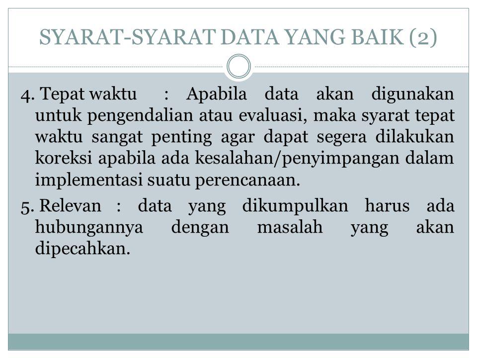 SYARAT-SYARAT DATA YANG BAIK (2) 4. Tepat waktu: Apabila data akan digunakan untuk pengendalian atau evaluasi, maka syarat tepat waktu sangat penting