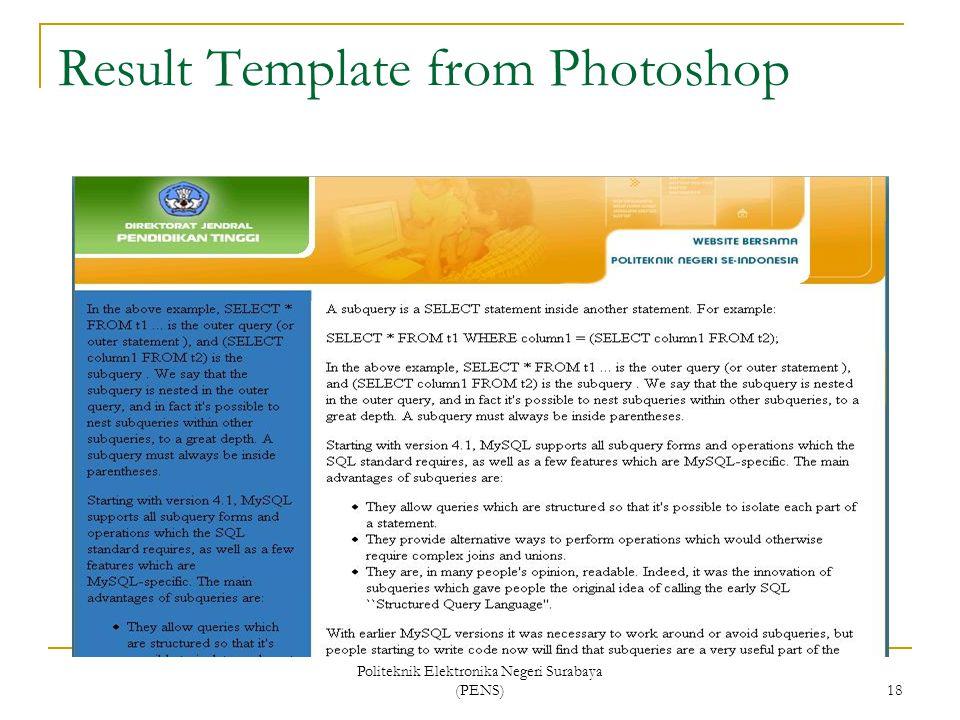 Politeknik Elektronika Negeri Surabaya (PENS) 18 Result Template from Photoshop