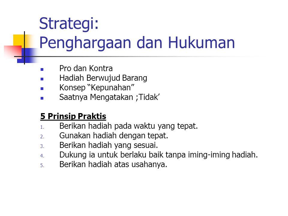 """Strategi: Penghargaan dan Hukuman Pro dan Kontra Hadiah Berwujud Barang Konsep """"Kepunahan"""" Saatnya Mengatakan ;Tidak' 5 Prinsip Praktis 1. Berikan had"""