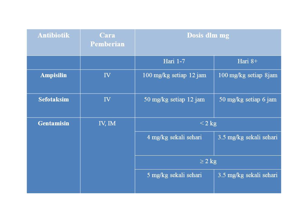 Antibiotik awal diberikan Ampisilin dan Gentamisin, bila organisme tidak dapat ditemukan dan bayi tetap menunjukkan tanda infeksi sesudah 48 jam, gant