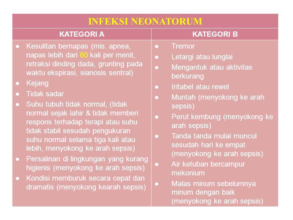 INFEKSI NEONATORUM KATEGORI AKATEGORI B ●Kesulitan bernapas (mis. apnea, napas lebih dari 60 kali per menit, retraksi dinding dada, grunting pada wakt