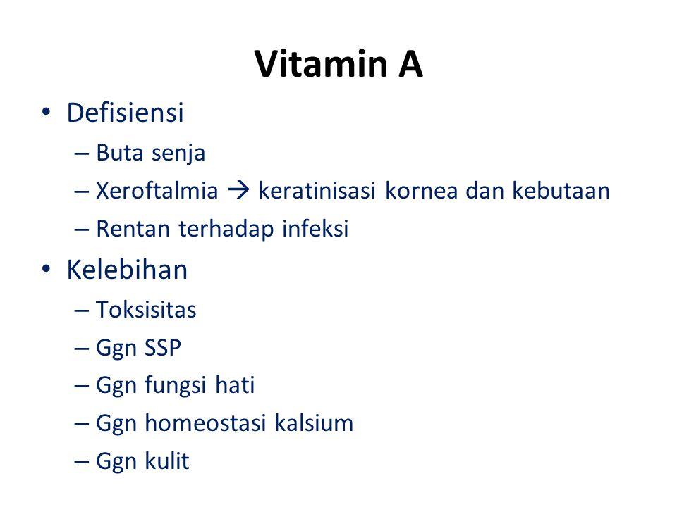 Vitamin A Defisiensi – Buta senja – Xeroftalmia  keratinisasi kornea dan kebutaan – Rentan terhadap infeksi Kelebihan – Toksisitas – Ggn SSP – Ggn fungsi hati – Ggn homeostasi kalsium – Ggn kulit