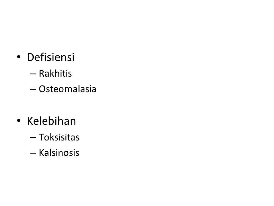 Defisiensi – Rakhitis – Osteomalasia Kelebihan – Toksisitas – Kalsinosis