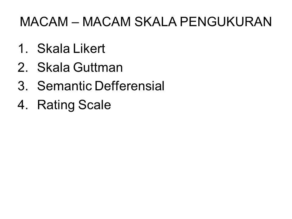 MACAM – MACAM SKALA PENGUKURAN 1.Skala Likert 2.Skala Guttman 3.Semantic Defferensial 4.Rating Scale