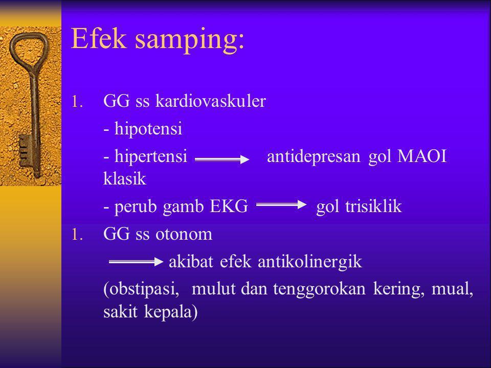 Efek samping: 1. GG ss kardiovaskuler - hipotensi - hipertensiantidepresan gol MAOI klasik - perub gamb EKGgol trisiklik 1. GG ss otonom akibat efek a