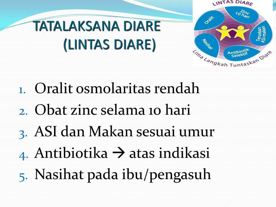 REKOMENDASI WHO/UNICEF Mencegah dan mengatasi dehidrasi dengan Oralit osmolaritas rendah atau cairan rumah tangga Pemberian ASI Teruskan pemberian mak