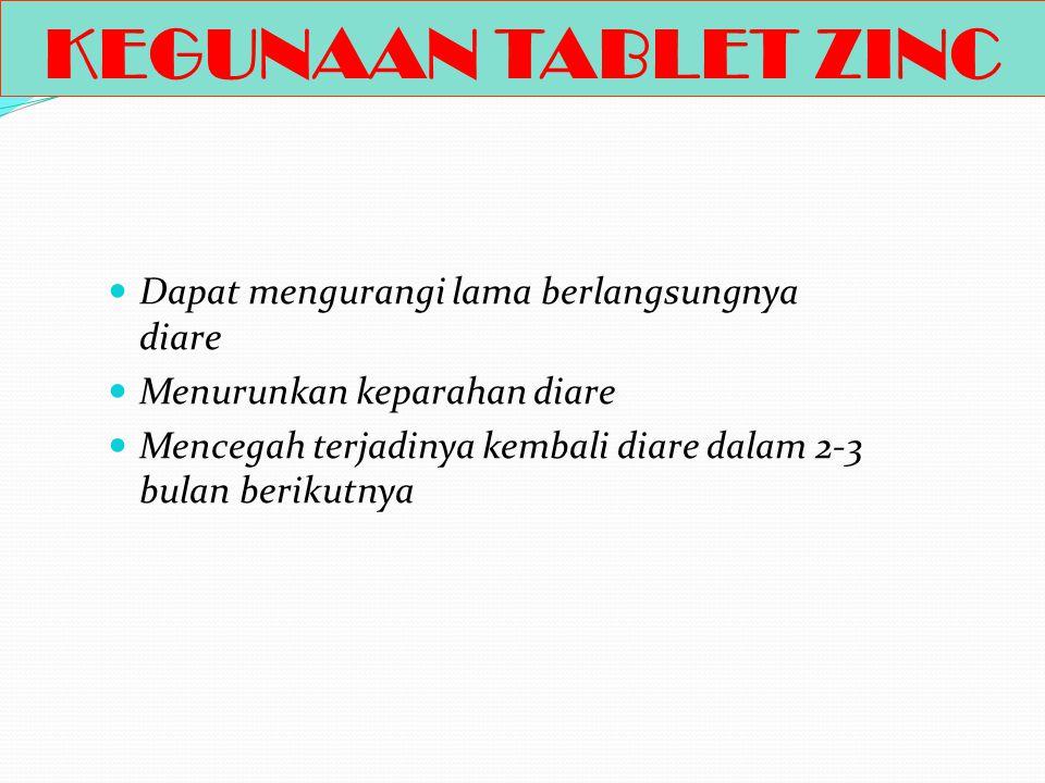 ZINC Zinc merupakan zat gizi mikro penting untuk kesehatan dan pertumbuhan seorang anak. Pada saat terjadi diare, tubuh banyak kehilangan zinc. Zinc b