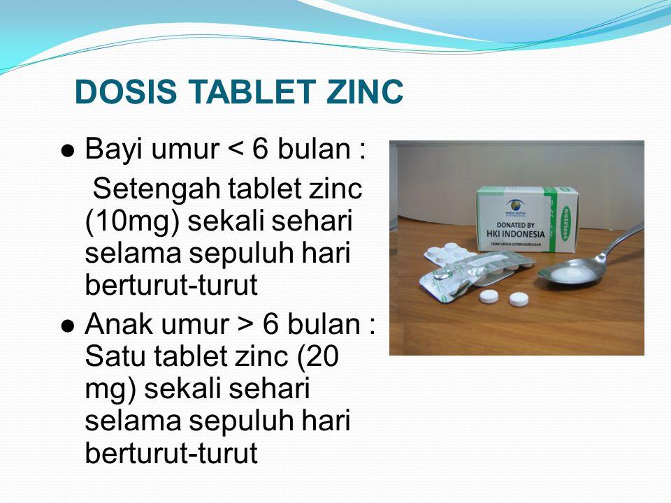 CARA PEMBERIAN TABLET ZINC Larutkan tablet zinc dengan sedikit (beberapa tetes) air matang atau ASI dalam sendok teh Apabila anak muntah sekitar seten