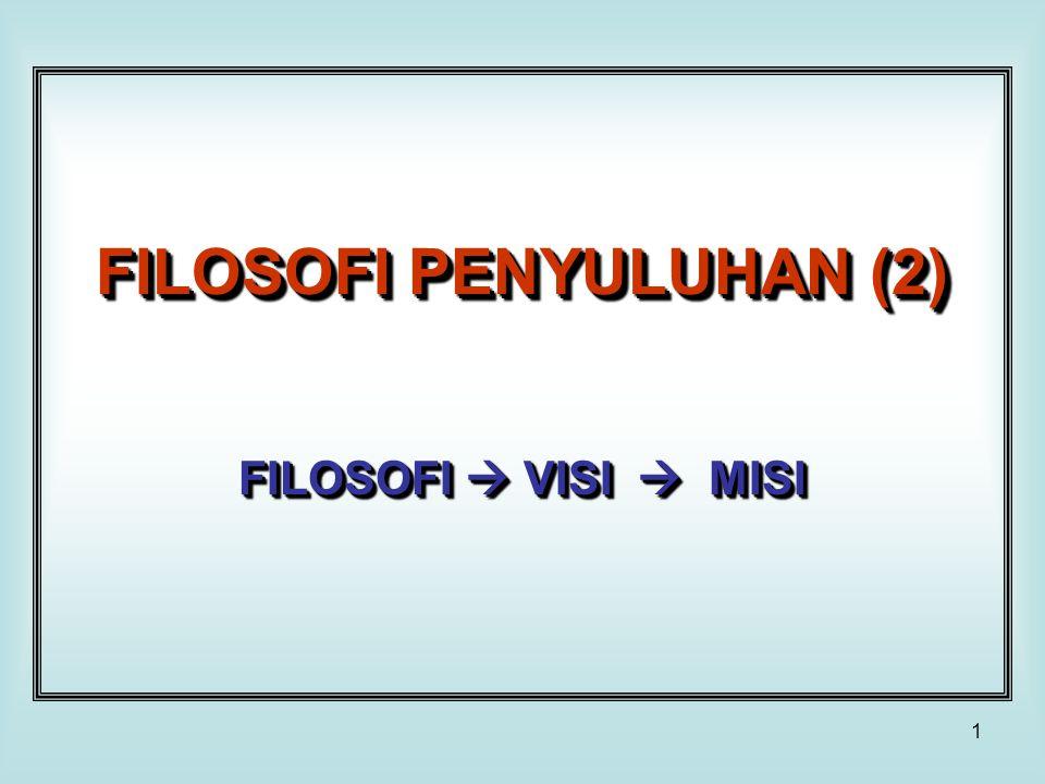 2 Filosofi Filosofi  Prinsip yang mengandung nilai dasar yang menjadi landasan perbuatan/ tindakan (dalam melaksanakan penyuluhan).