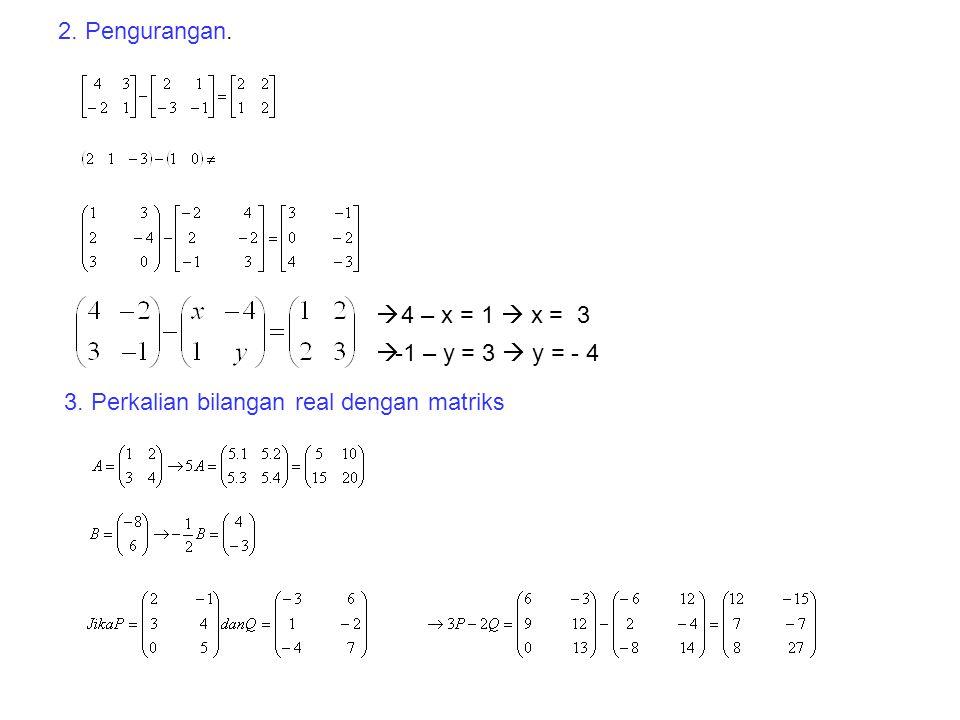 Keadaan khusus. dibalik  Coba untuk sembarang matriks yang lain ! matriks= 0 disebut matriks identitas ordo 2x2 dalam operasi penjumlahan Seperti dal