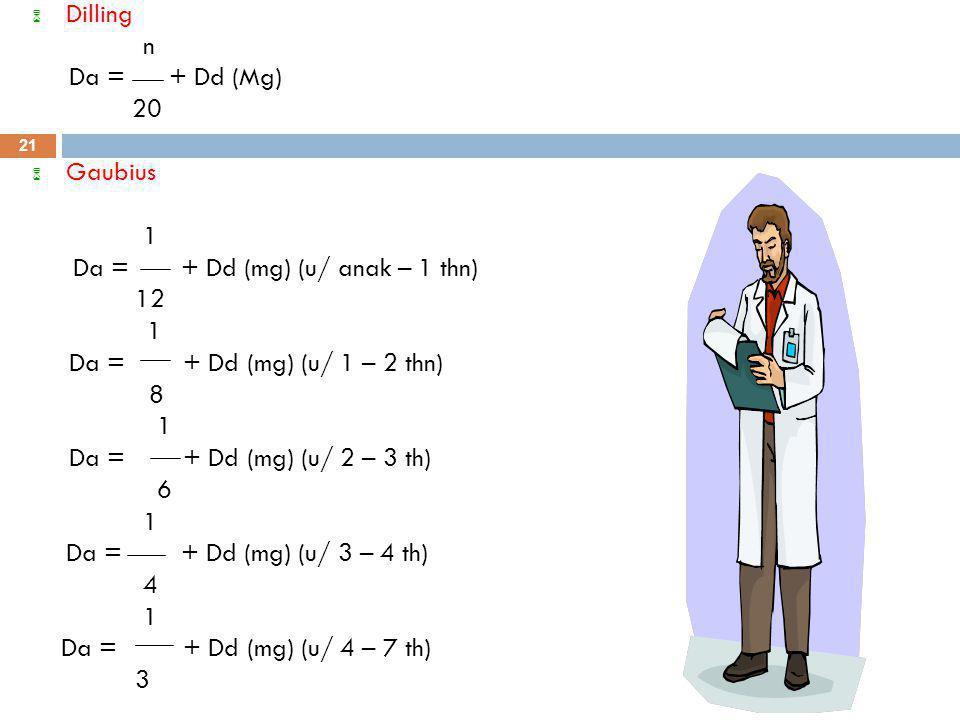 6 Dilling n Da = + Dd (Mg) 20 6 Gaubius 1 Da = + Dd (mg) (u/ anak – 1 thn) 12 1 Da = + Dd (mg) (u/ 1 – 2 thn) 8 1 Da = + Dd (mg) (u/ 2 – 3 th) 6 1 Da = + Dd (mg) (u/ 3 – 4 th) 4 1 Da = + Dd (mg) (u/ 4 – 7 th) 3 21