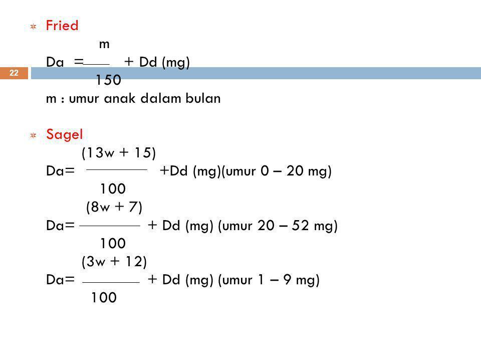  Fried m Da = + Dd (mg) 150 m : umur anak dalam bulan  Sagel (13w + 15) Da= +Dd (mg)(umur 0 – 20 mg) 100 (8w + 7) Da= + Dd (mg) (umur 20 – 52 mg) 100 (3w + 12) Da= + Dd (mg) (umur 1 – 9 mg) 100 22