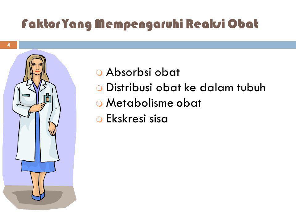 Faktor Yang Mempengaruhi Reaksi Obat m Absorbsi obat m Distribusi obat ke dalam tubuh m Metabolisme obat m Ekskresi sisa 4