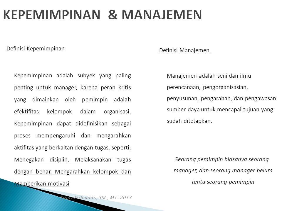 Yoniv Erdhianto, SM., MT. 2013 KEPEMIMPINAN & MANAJEMEN Definisi Kepemimpinan Kepemimpinan adalah subyek yang paling penting untuk manager, karena per