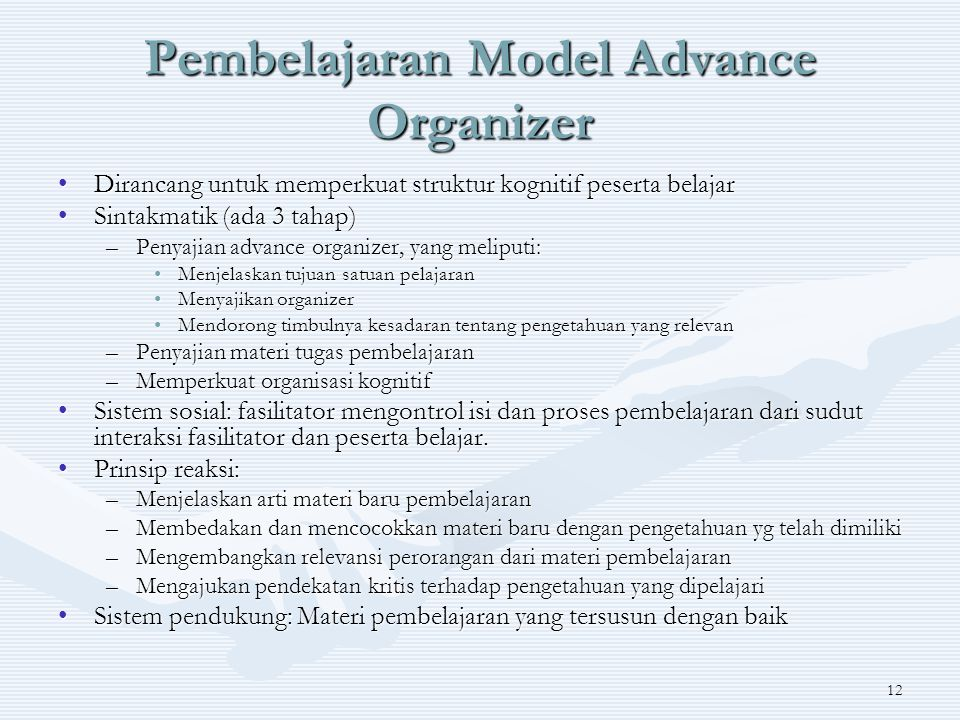 12 Pembelajaran Model Advance Organizer Dirancang untuk memperkuat struktur kognitif peserta belajarDirancang untuk memperkuat struktur kognitif peserta belajar Sintakmatik (ada 3 tahap)Sintakmatik (ada 3 tahap) –Penyajian advance organizer, yang meliputi: Menjelaskan tujuan satuan pelajaranMenjelaskan tujuan satuan pelajaran Menyajikan organizerMenyajikan organizer Mendorong timbulnya kesadaran tentang pengetahuan yang relevanMendorong timbulnya kesadaran tentang pengetahuan yang relevan –Penyajian materi tugas pembelajaran –Memperkuat organisasi kognitif Sistem sosial: fasilitator mengontrol isi dan proses pembelajaran dari sudut interaksi fasilitator dan peserta belajar.Sistem sosial: fasilitator mengontrol isi dan proses pembelajaran dari sudut interaksi fasilitator dan peserta belajar.
