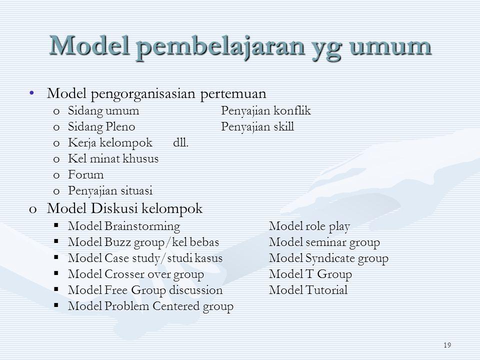 19 Model pembelajaran yg umum Model pengorganisasian pertemuanModel pengorganisasian pertemuan oSidang umumPenyajian konflik oSidang PlenoPenyajian skill oKerja kelompokdll.