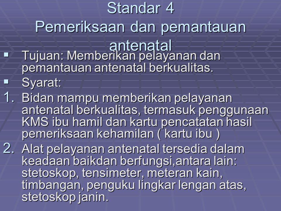 Standar 4 Pemeriksaan dan pemantauan antenatal  Tujuan: Memberikan pelayanan dan pemantauan antenatal berkualitas.  Syarat: 1. Bidan mampu memberika
