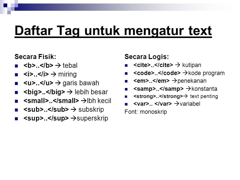 Daftar Tag untuk mengatur text Secara Fisik:..  tebal..