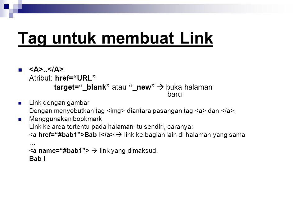 Tag untuk membuat Link..