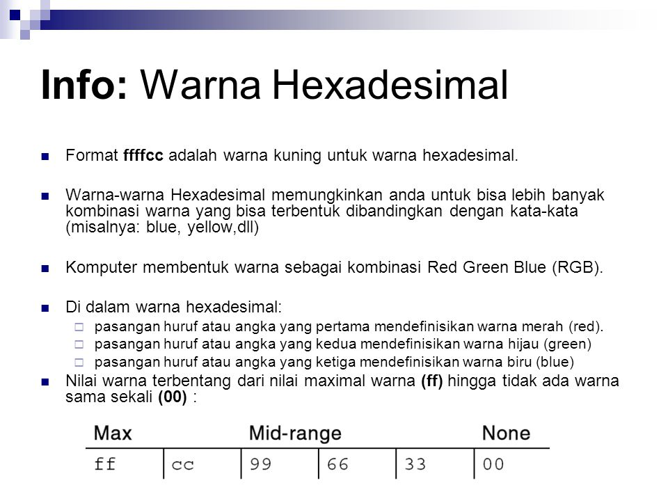 Info: Warna Hexadesimal Format ffffcc adalah warna kuning untuk warna hexadesimal.
