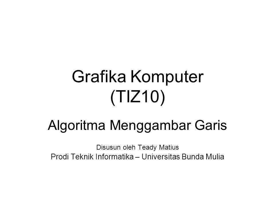 Grafika Komputer (TIZ10) Algoritma Menggambar Garis Disusun oleh Teady Matius Prodi Teknik Informatika – Universitas Bunda Mulia