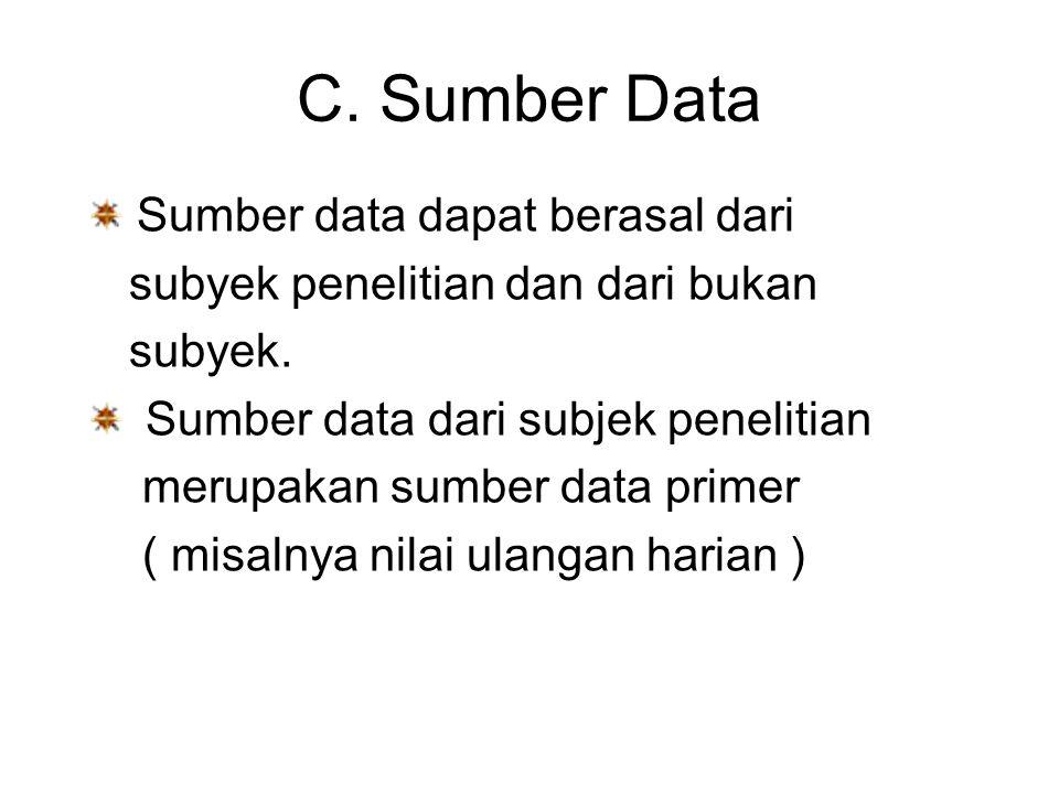 C. Sumber Data Sumber data dapat berasal dari subyek penelitian dan dari bukan subyek. Sumber data dari subjek penelitian merupakan sumber data primer
