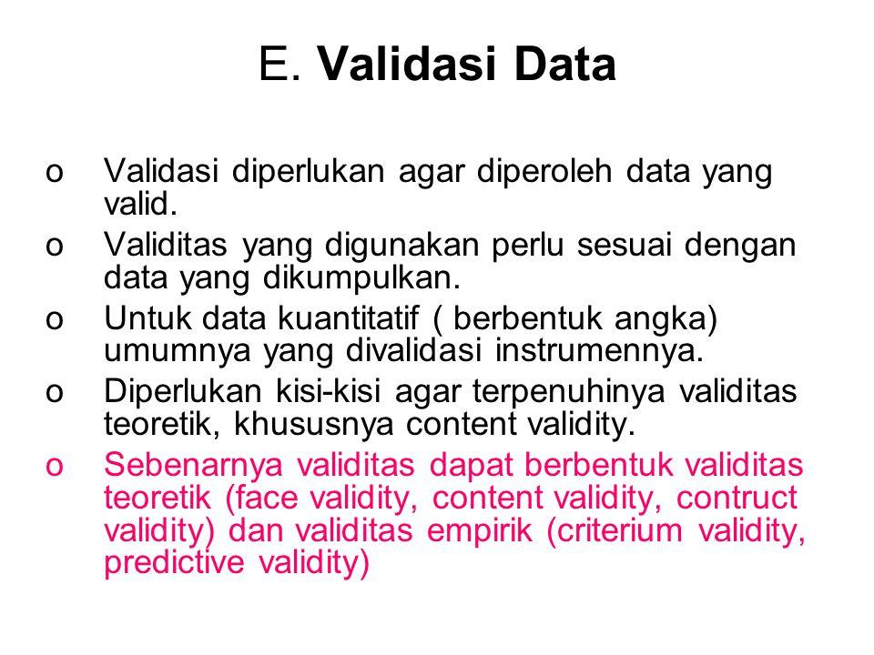 E. Validasi Data oValidasi diperlukan agar diperoleh data yang valid. oValiditas yang digunakan perlu sesuai dengan data yang dikumpulkan. oUntuk data