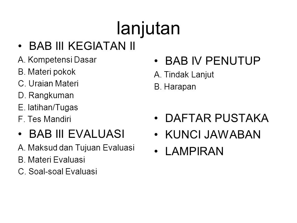 lanjutan BAB III KEGIATAN II A. Kompetensi Dasar B. Materi pokok C. Uraian Materi D. Rangkuman E. latihan/Tugas F. Tes Mandiri BAB III EVALUASI A. Mak