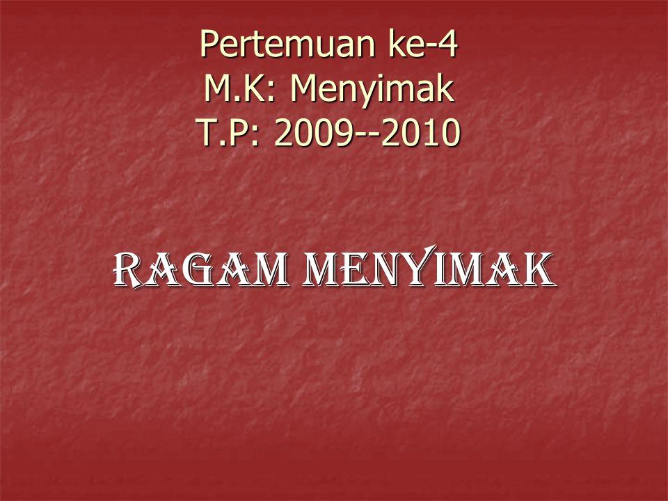 Pertemuan ke-4 M.K: Menyimak T.P: 2009--2010 RAGAM MENYIMAK