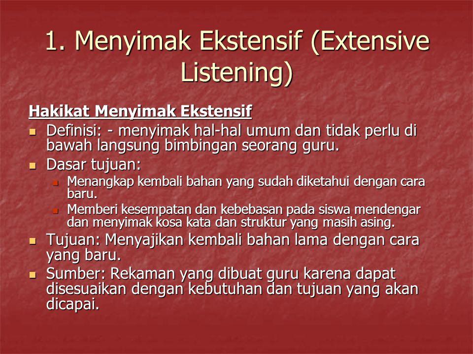 1. Menyimak Ekstensif (Extensive Listening) Hakikat Menyimak Ekstensif Definisi: - menyimak hal-hal umum dan tidak perlu di bawah langsung bimbingan s