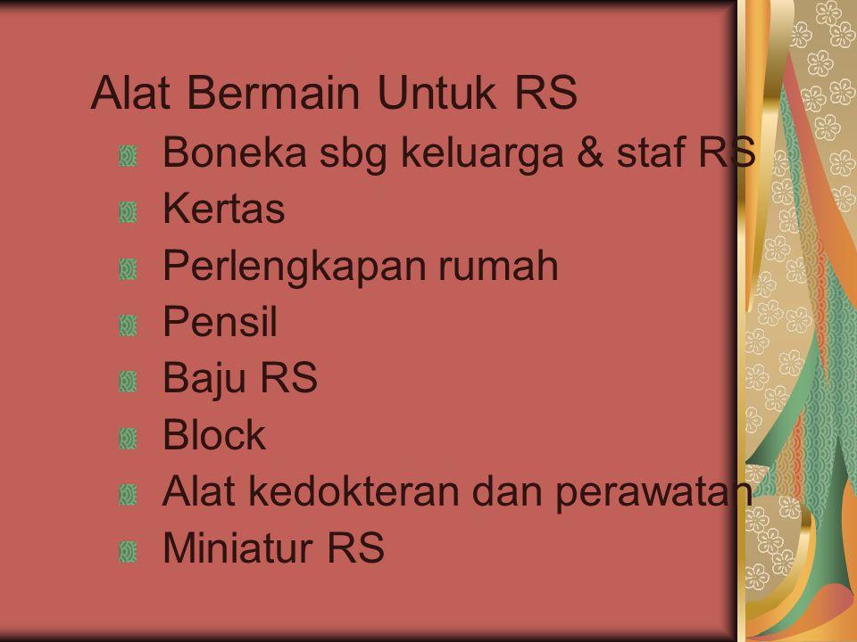 Alat Bermain Untuk RS Boneka sbg keluarga & staf RS Kertas Perlengkapan rumah Pensil Baju RS Block Alat kedokteran dan perawatan Miniatur RS